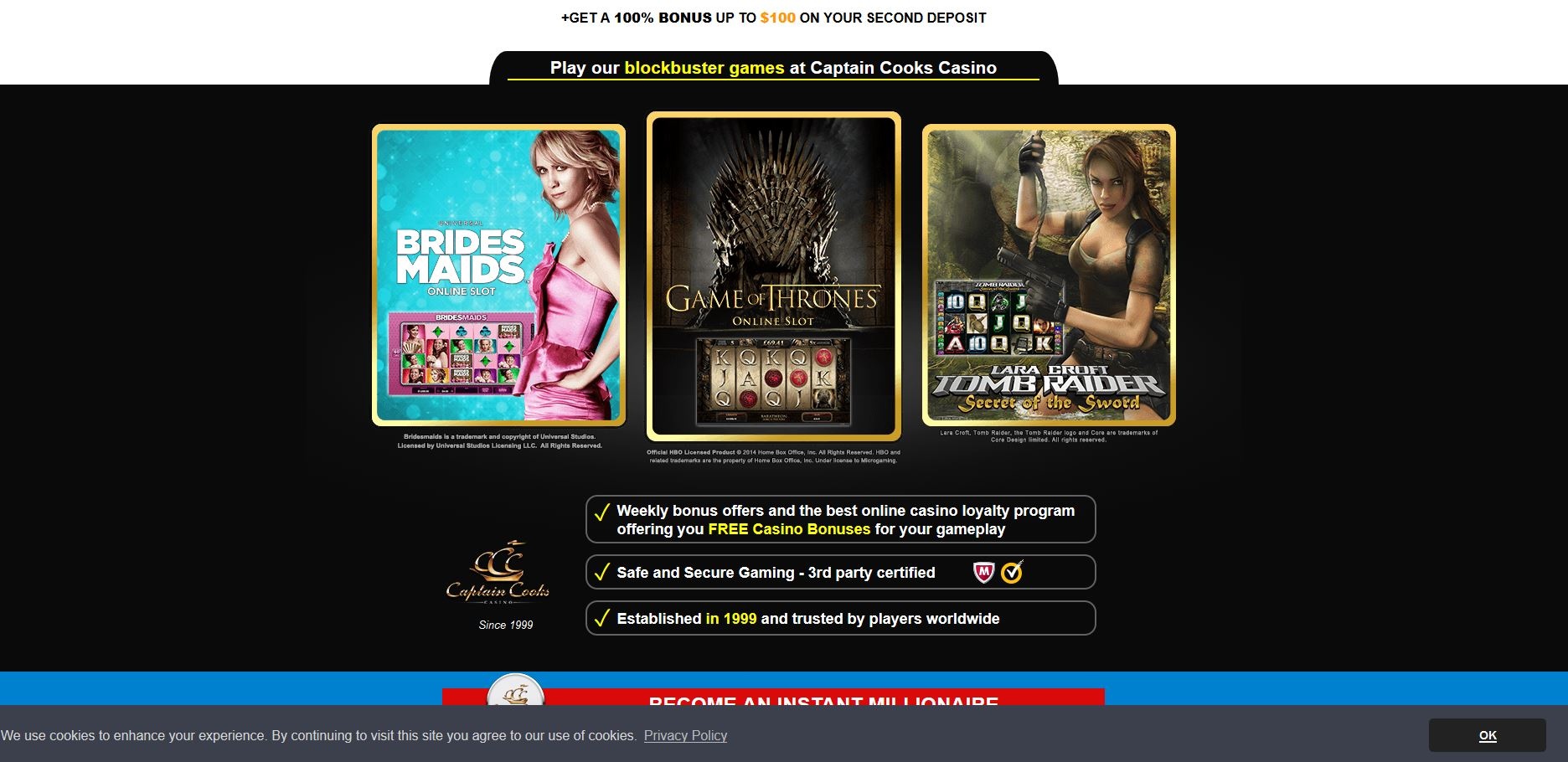 Captain cooks casino payout video poker